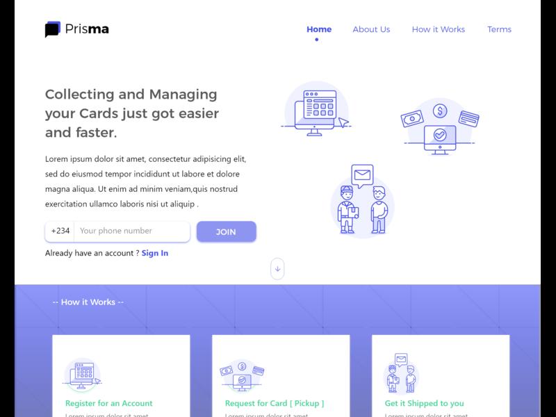 Homepage design for Prisma ui design illustration adobe xd ui