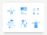 Illustrations for a smart office space