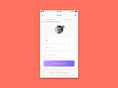 Edit Profile purple tab gradient ios iphone location based ux design mobile app adobexd application ui ui deisgn