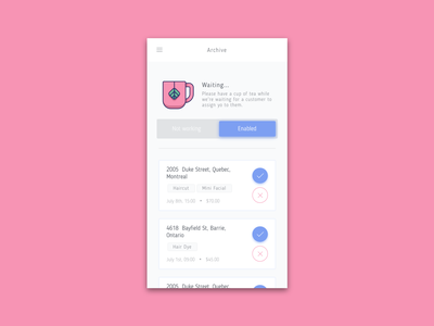 Hairstylist Booking - Agent agent white gray hairstylist hair pink mobile minimal location based blue clean app mobile app application iphone ios adobexd design uidesign ui