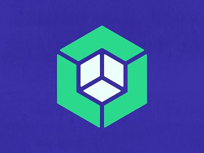 Cube + Connection   Logo Concept   006 sullivan matt texture logos icon geometric bold branding illusion white green violet blue dimension connection cube concept logo 006