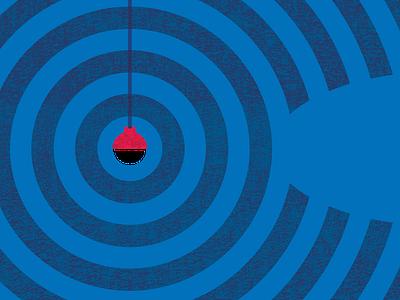 Catch & Release   Posters For Parks 2020   Detail 1 design texture rough red posters poster design poster art poster parks outdoors matt illustration grit grid geometric fishing detail circles blue 2020