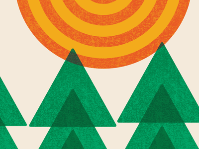 Catch & Release | Posters For Parks 2020 | Detail 2 sullivan minnesota repetition landscape illustration green orange parks poster design grit texture triangles circles geometric trees sun outdoors 2020