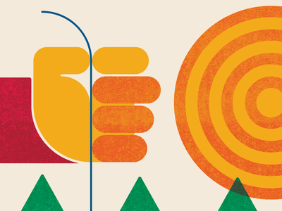 Catch & Release   Posters For Parks 2020   Detail 3 (Final) fishing fist hand trees texture sun sullivan repetition poster parks minnesota outdoors illustration green red orange geometric design circles 2020