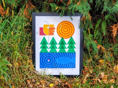 Full Poster: Catch & Release   Posters For Parks 2020 waves triangles circles orange yellow red green blue hand sun trees lake minnesota outdoors geometric fishing illustration design poster 2020