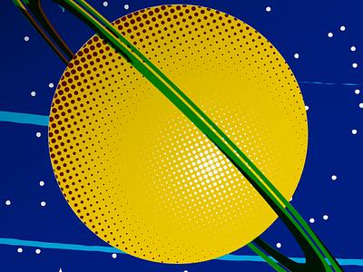 One Giant Leap - Artcrank 21 - Poster Detail - 02 geometric poster illustration design sullivan matt space saturn halftone stars gravity orbit graphic design silk screen artcrank detail giant leap one surreal