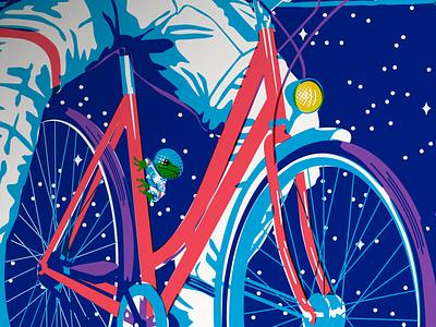One Giant Leap - Artcrank 21 - Poster Detail - 03 orbit surreal gravity silk screen leap giant one detail artcrank stars bicycle frog halftone astronaut space matt sullivan design illustration poster