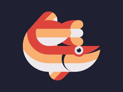 Friday Fish Fun Time matt pike blue white geometric orange red fish friday happy