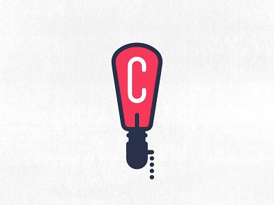 C + Lamp   Logo Concept   002 sullivan matt 002 concept logo white blue serif sans light red bulb lamp c