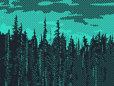 REFLECTION ON THE SHORELINE - Detail 1 illustration teal green poster art duotone grunge rough grit outdoors line tree parks for halftone detail poster