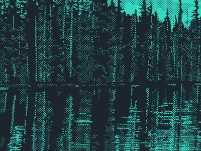 REFLECTION ON THE SHORELINE - Detail 2 outdoors nature forest trees shoreline shore on reflection lake park parks for poster posters illustration grit green halftone duotone detail