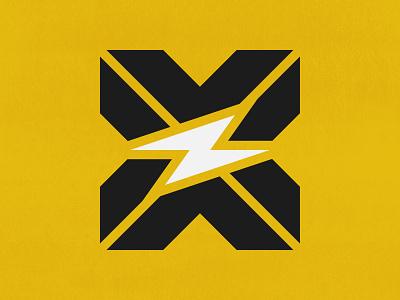 X + Spark   Logo Concept   005 geometric sullivan matt design bold branding texture yellow white black shock electric 005 logos icon concept logo spark x