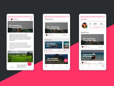 Travel Blog App travel app ui ux visual design