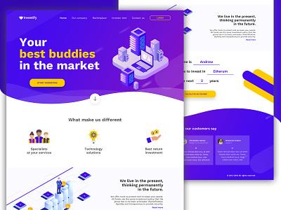 Investify Landing Page website landing visual design illustration ui design