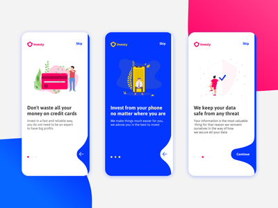 Onboarding Investy App app ui ux graphics onboarding currency credit vector