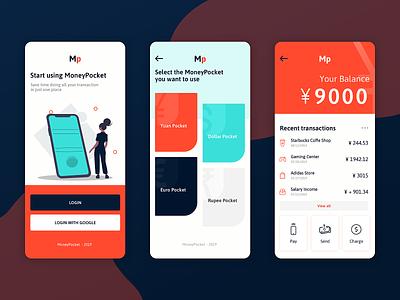 MoneyPocket App Design ux yen illustration app ui visual design