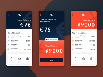 MoneyPocket - Send Money app currency send money money app uidesign uiux application wallet app wallet app design visual design ux ui
