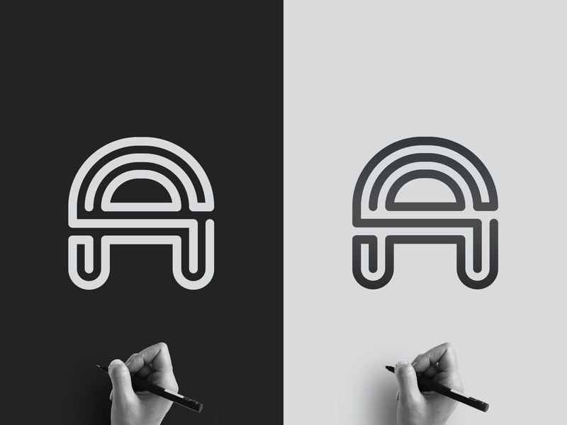 Letter A logo Maze letter a lettermark happy negativespace new maze love beautiful 2d art vector simple brand monogram 2d typography clean design branding logo