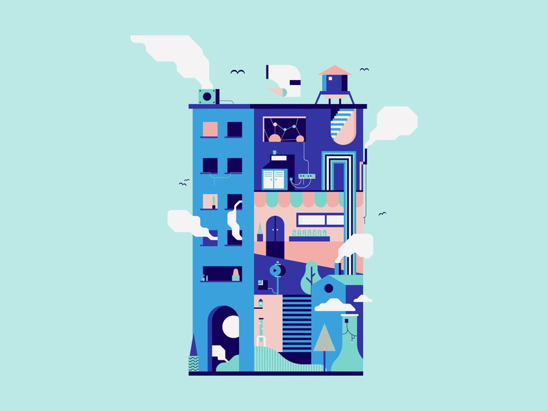 The Great Debate city illustration cityscape building city colorful design colorful branding vector minimal illustration flat design