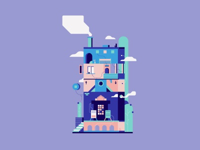 The Miracle and The Sleeper city building color colorful design colorful branding vector minimal illustration flat design