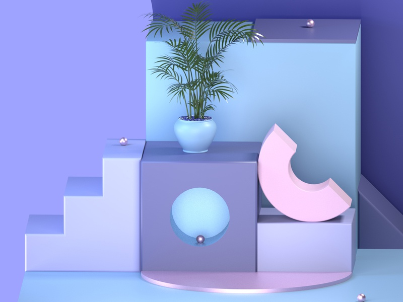 Composition 1 illustration design texture metal pastel plant dream 3d cinema cinema4d