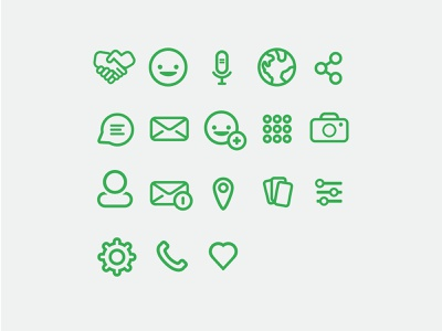 Icon Set | Happenin options share camera add handshake mail line set friendly app icons iconography