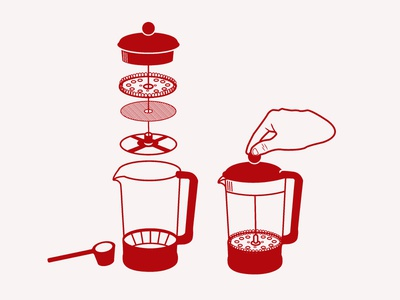 French Press Visual Instructions assemble instructional illustration intructions red close open illustration icon french press coffee