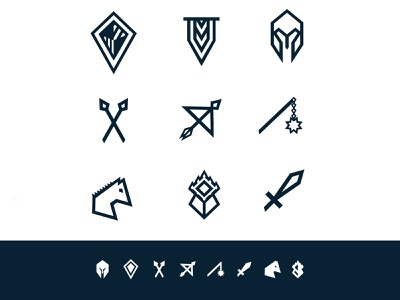 Full Medieval Icon Set glyph iconset icons white blue sword castle horse flail arrows bow spears banner helemt shield medieval