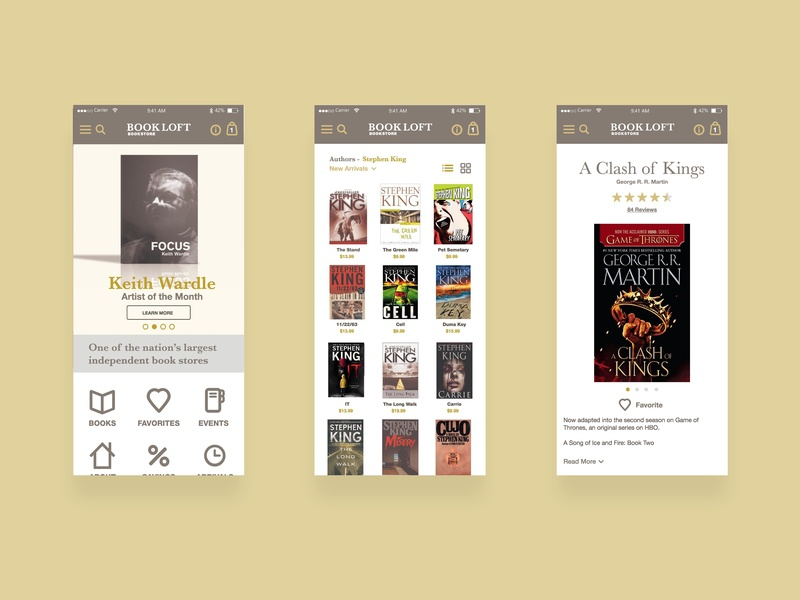BookLoft Mobile Screens branding app white yellow book ui gold shopping icons website bookshop bookstore mobile books bookloft