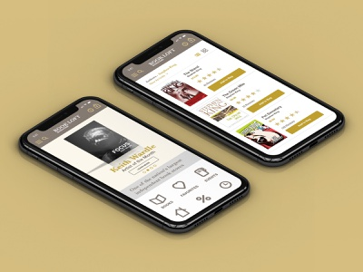 BookLoft Mobile mockup website iphone list shopping heart phone books gold uidesign ui mobile