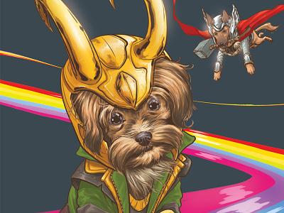 DOTMU Lokipoo illustration mcu marvel loki terrier yorkshire yorkie dog