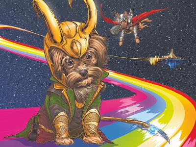 LokiPoo illustration mcu marvel loki terrier yorkshire yorkie dog