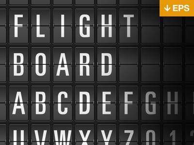 Flight board EPS free download flight information board clock split flap mechanical vector eps illustrator