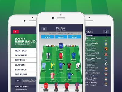 Fantasy Premier League App 2015/16 fixtures pitch ios game football soccer app league premier fantasy ux ui