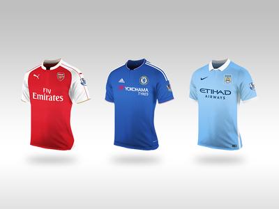 Fantasy Premier League Shirts 2015/16 city manchester chelsea arsenal kits vector illustrator shirts league premier fantasy