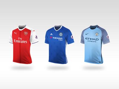 Fantasy Premier League Shirts 2016/17 vector shirts premier manchester league kits illustrator fantasy city chelsea arsenal