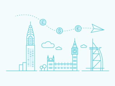 City Scene big ben new york flight plane paper currency money dubai london clouds buildings icons
