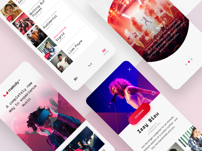 MelodyVR vr concert mobile ux music ui ios iphone app