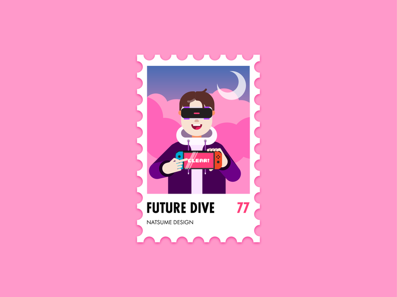 Self-Portrait: FUTURE DIVE illustration stamp self-portrait ui uiux vaporwave videogame vr future futurewave