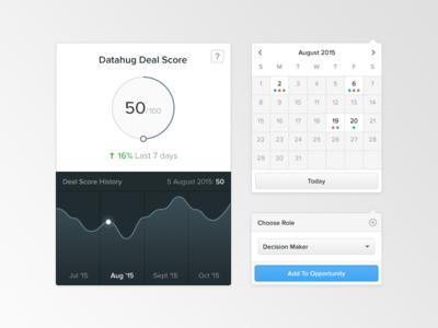 UI elements score dropdown calendar chart