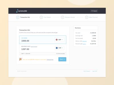 Transaction UI foreign exchange calculator transaction