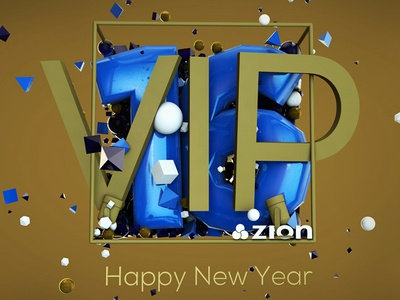VIP | Happy New Year - 2016 event concert shapes explosion party baloon cloner graphics poster photoshop cinema 4d new year