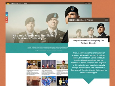 Hispanics in the U.S. Army news war pentagon sections user experience ui ux website responsive hispanics military army
