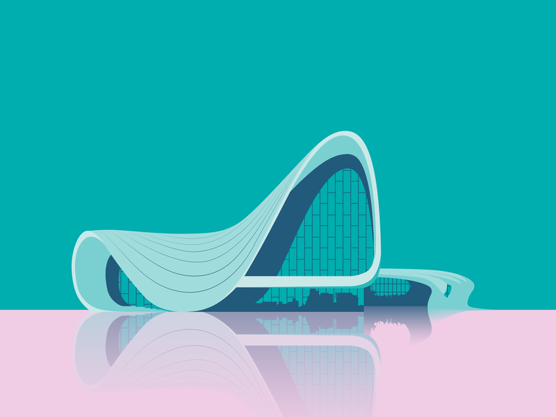Heydar Aliyev Center by Zaha Hadid Architects turquoise pink vector illustration vector artwork vector architechture debut illustration adobe