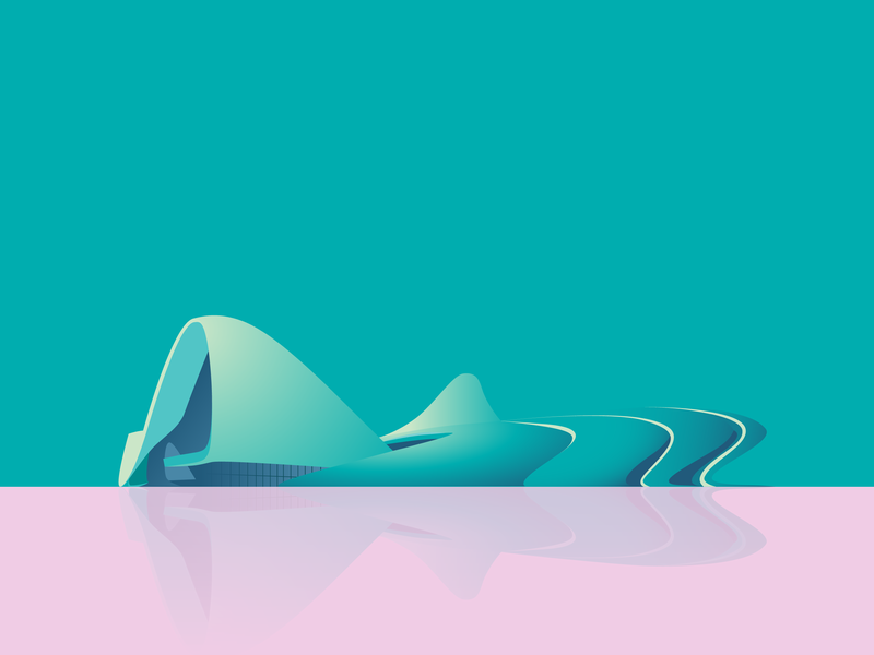 Heydar Aliyev Center by Zaha Hadid Architects vector art zaha hadid pink digital illustration vector illustration vector artwork vector turquoise illustration architechture