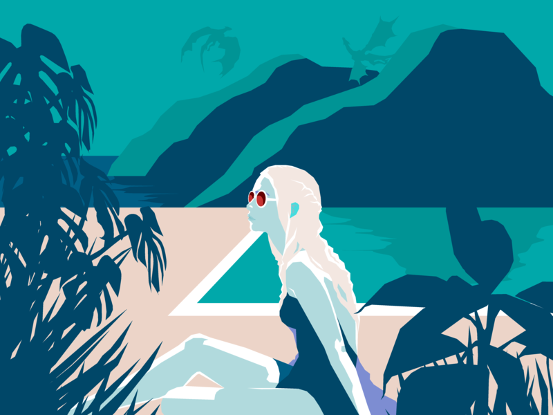 Game of Queens daenerys targaryen daenerys design summer got game of thrones poolside debut vector art turquoise digital illustration vector illustration vector artwork vector illustration