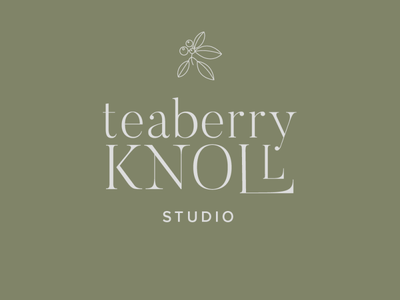 teaberry knoll logo neutral natural green typography logo teaberry studio pottery branding