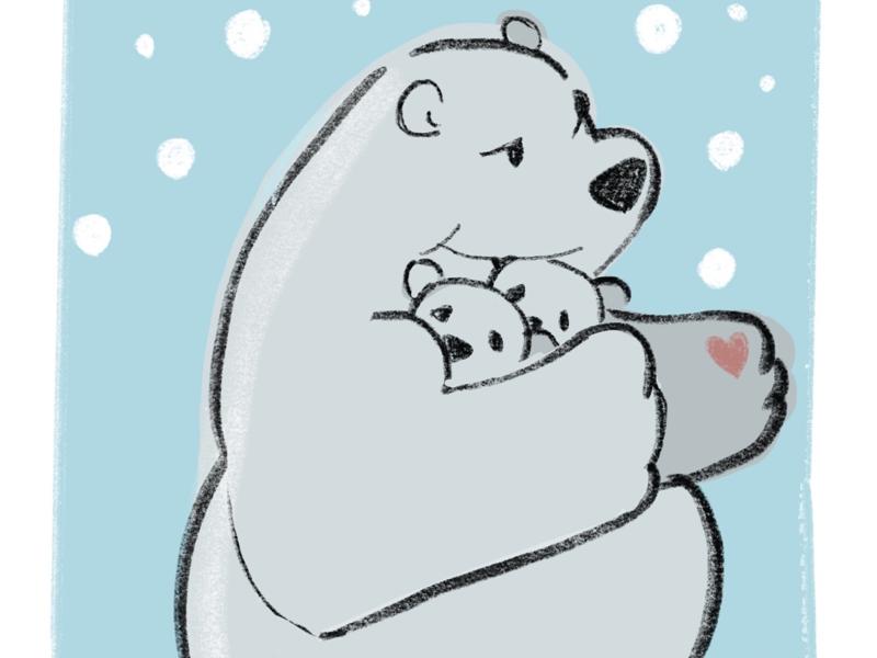 The Mother Bear graphic design procreate netflix our planet polar bear