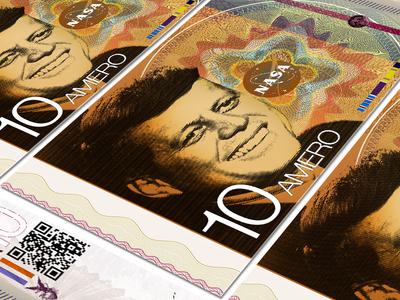 The 10 Amero branding graphic design amero nasa dollar bill logo minimal modern responsive identity