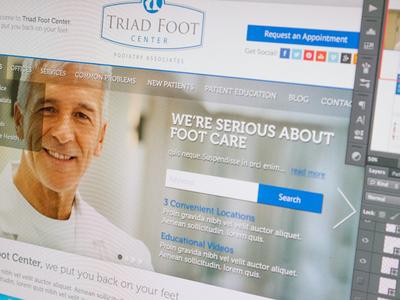 Triad Foot Center Homepage web design ui ux mockup wordpress website webdesign